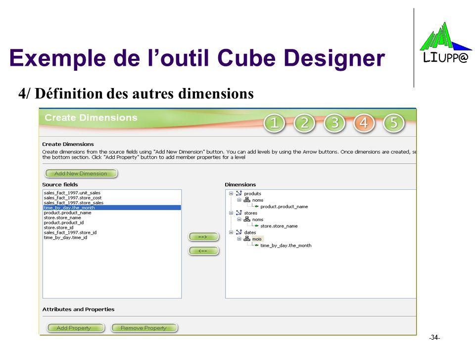 -34- Exemple de l'outil Cube Designer 4/ Définition des autres dimensions
