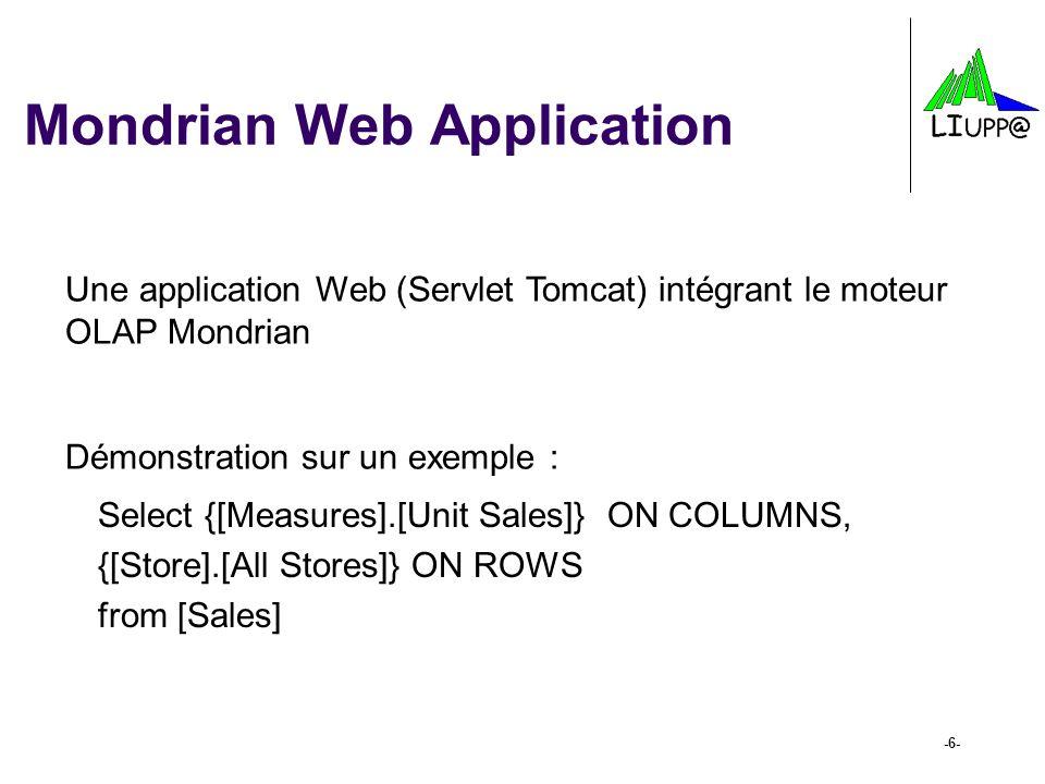 Mondrian Web Application -6- Une application Web (Servlet Tomcat) intégrant le moteur OLAP Mondrian Démonstration sur un exemple : Select {[Measures].