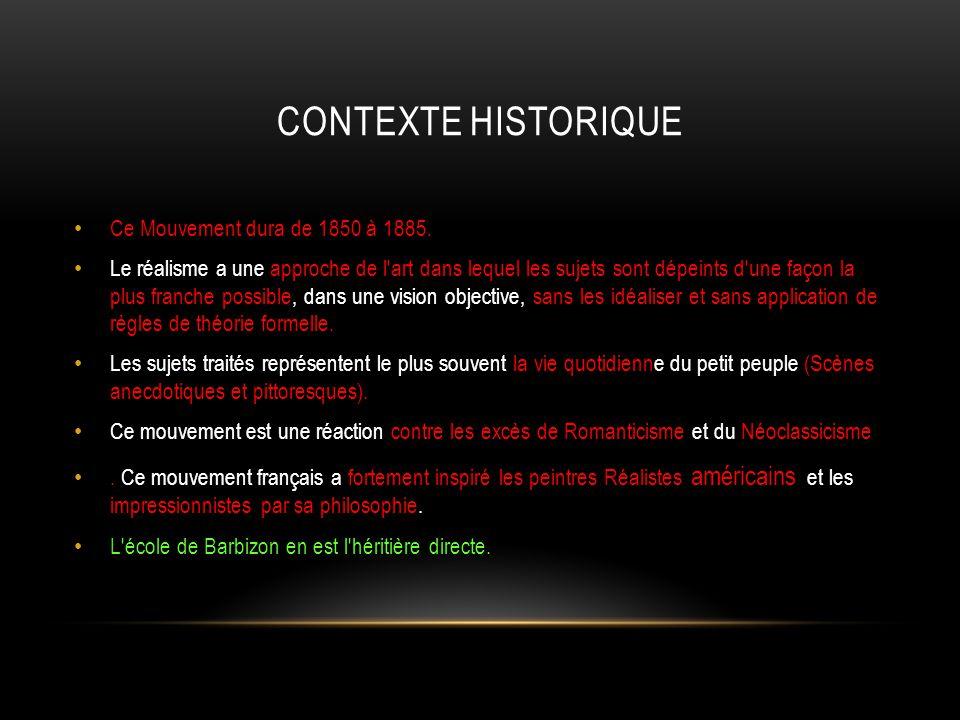CONTEXTE HISTORIQUE Ce Mouvement dura de 1850 à 1885.