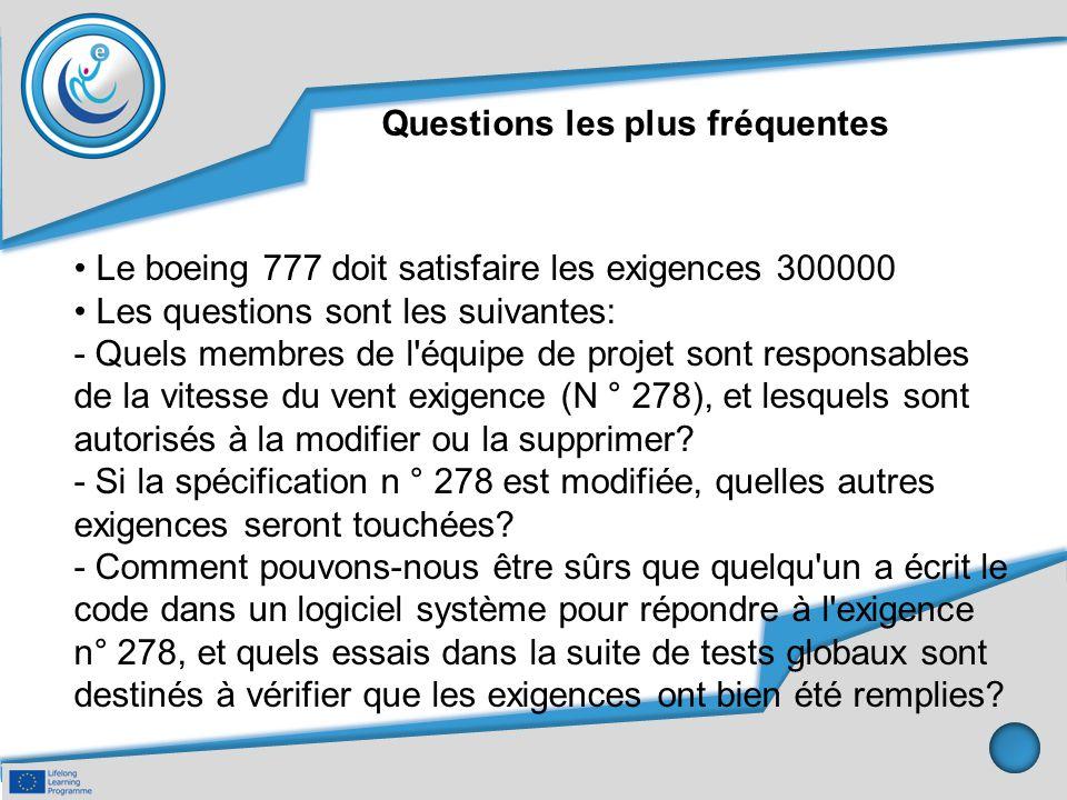 Questions les plus fréquentes Le boeing 777 doit satisfaire les exigences 300000 Les questions sont les suivantes: - Quels membres de l'équipe de proj