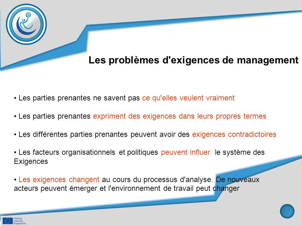 Les problèmes d'exigences de management Les parties prenantes ne savent pas ce qu'elles veulent vraiment Les parties prenantes expriment des exigences