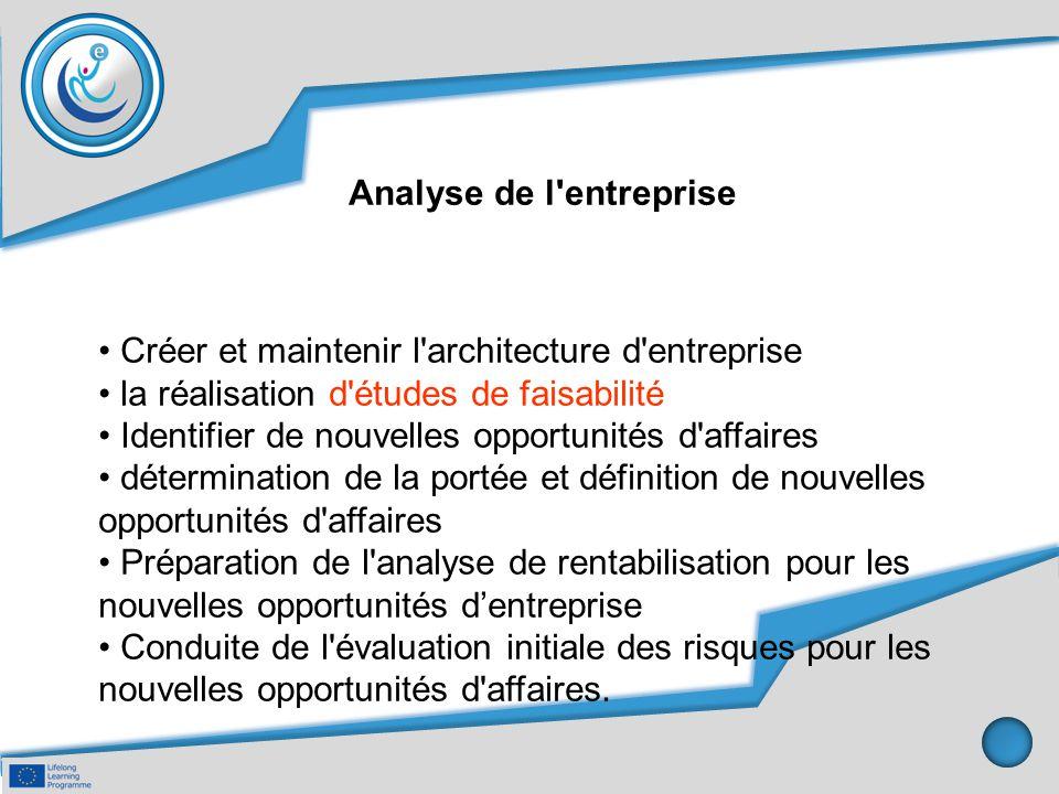 Analyse de l'entreprise Créer et maintenir l'architecture d'entreprise la réalisation d'études de faisabilité Identifier de nouvelles opportunités d'a