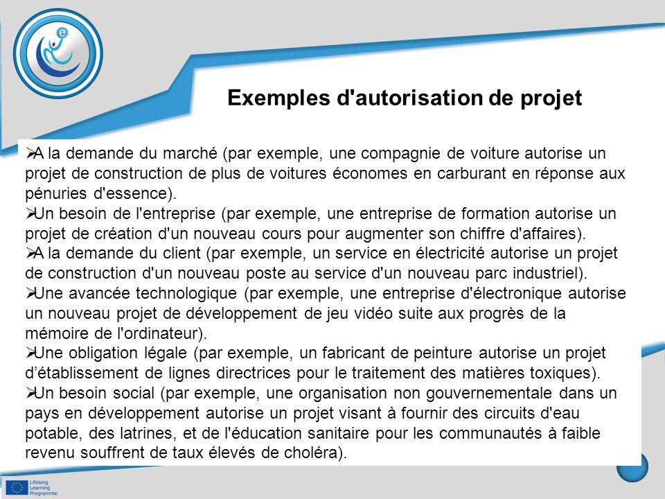 Exemples d'autorisation de projet  A la demande du marché (par exemple, une compagnie de voiture autorise un projet de construction de plus de voitur