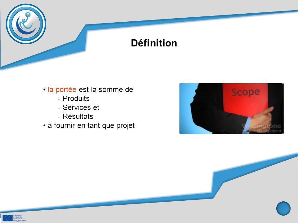 Définition la portée est la somme de - Produits - Services et - Résultats à fournir en tant que projet