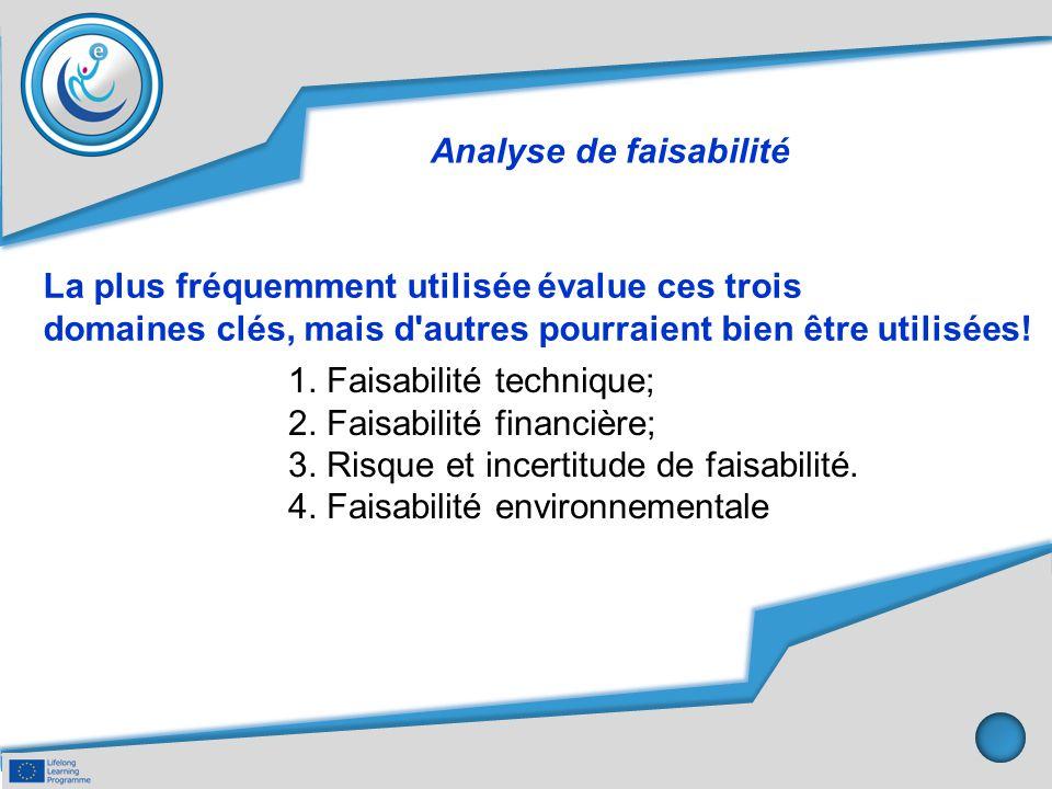 Analyse de faisabilité 1. Faisabilité technique; 2. Faisabilité financière; 3. Risque et incertitude de faisabilité. 4. Faisabilité environnementale L
