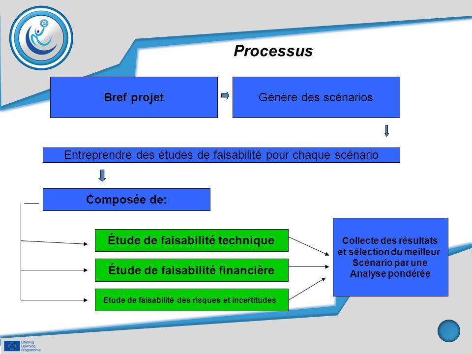 Processus Bref projetGénère des scénarios Entreprendre des études de faisabilité pour chaque scénario Composée de: Collecte des résultats et sélection