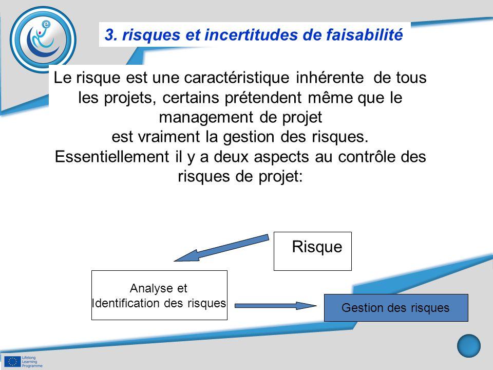 3. risques et incertitudes de faisabilité Le risque est une caractéristique inhérente de tous les projets, certains prétendent même que le management