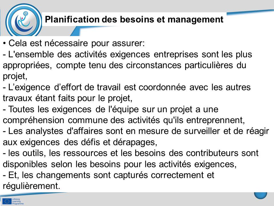 Planification des besoins et management Cela est nécessaire pour assurer: - L'ensemble des activités exigences entreprises sont les plus appropriées,