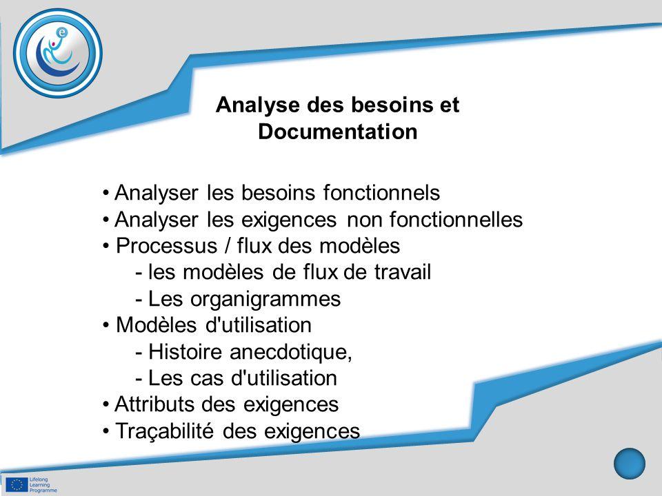 Analyse des besoins et Documentation Analyser les besoins fonctionnels Analyser les exigences non fonctionnelles Processus / flux des modèles - les mo