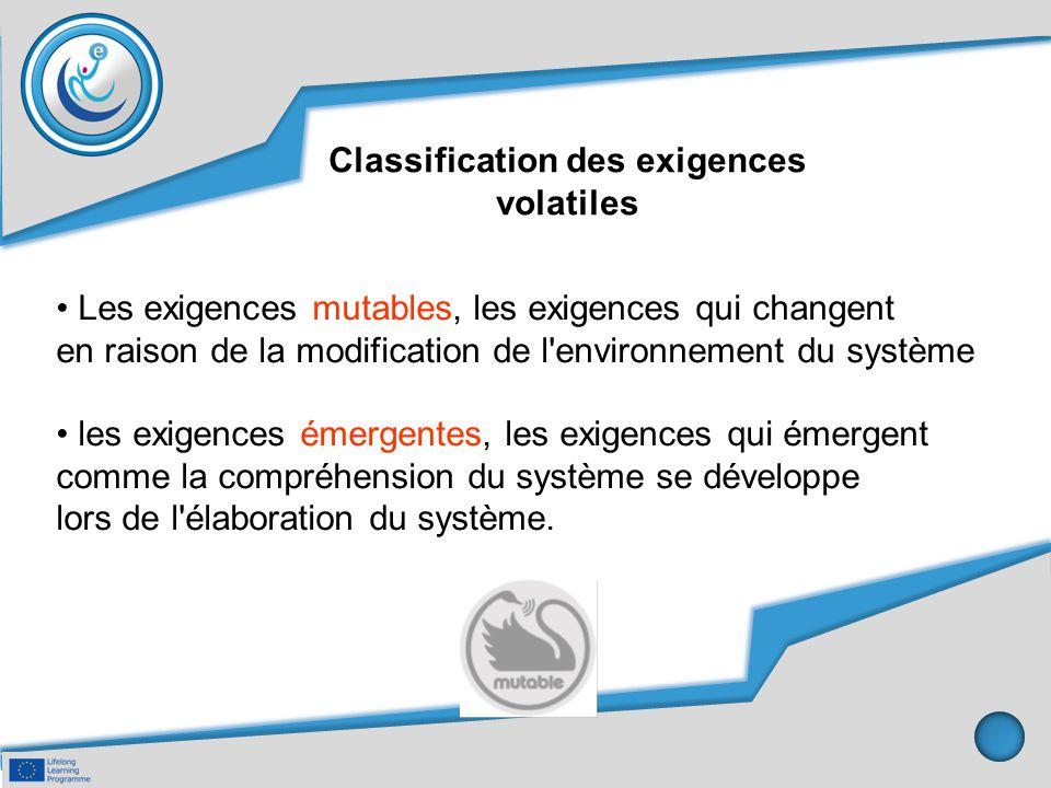 Classification des exigences volatiles Les exigences mutables, les exigences qui changent en raison de la modification de l'environnement du système l