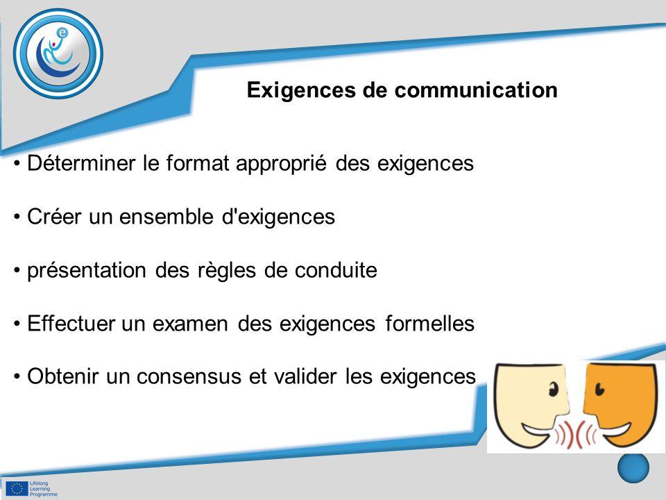 Exigences de communication Déterminer le format approprié des exigences Créer un ensemble d'exigences présentation des règles de conduite Effectuer un