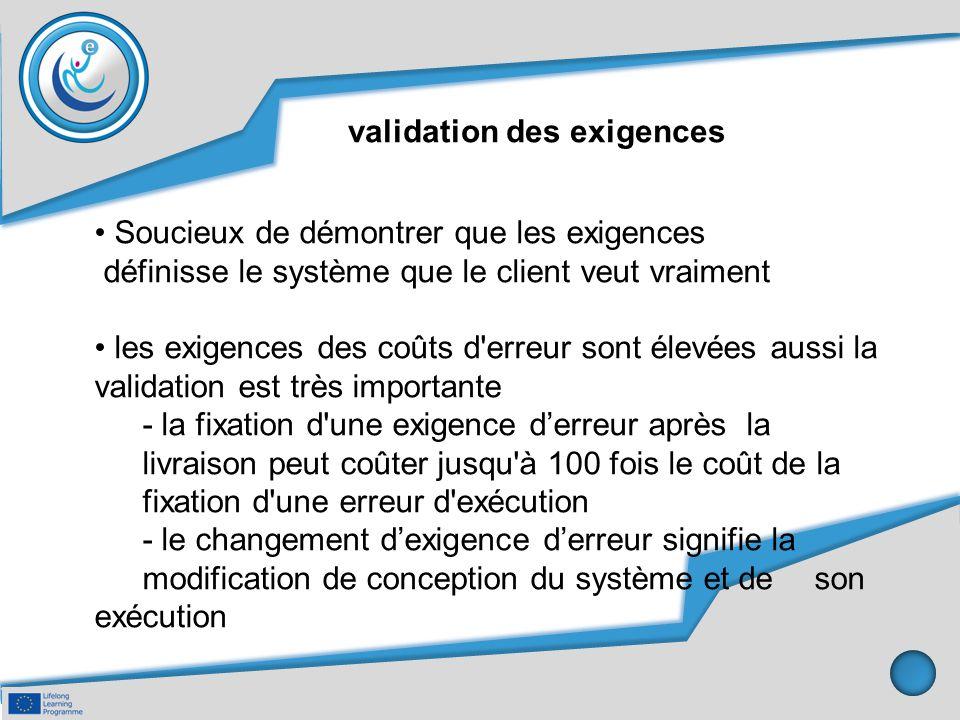 validation des exigences Soucieux de démontrer que les exigences définisse le système que le client veut vraiment les exigences des coûts d'erreur son