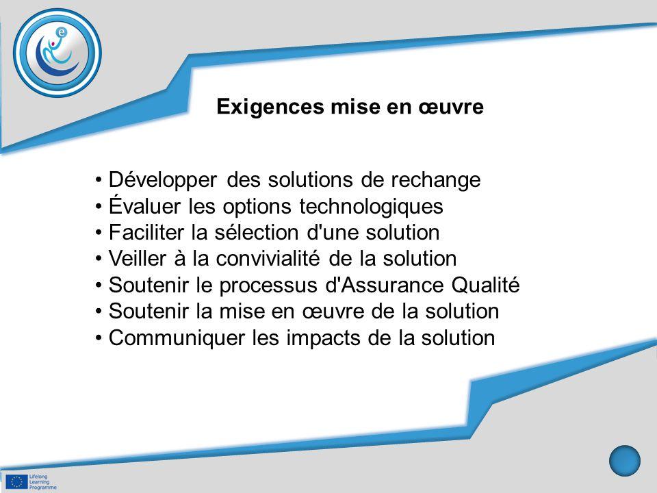 Exigences mise en œuvre Développer des solutions de rechange Évaluer les options technologiques Faciliter la sélection d'une solution Veiller à la con