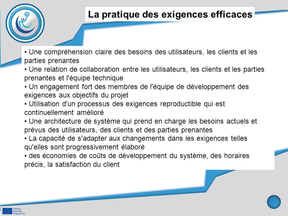 La pratique des exigences efficaces Une compréhension claire des besoins des utilisateurs, les clients et les parties prenantes Une relation de collab