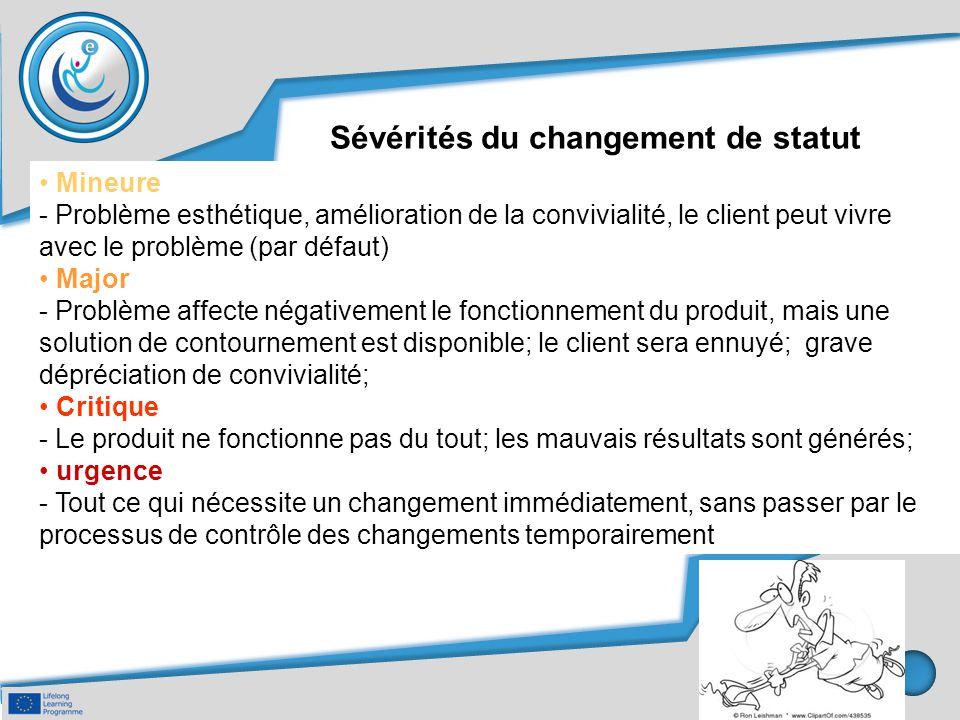 Sévérités du changement de statut Mineure - Problème esthétique, amélioration de la convivialité, le client peut vivre avec le problème (par défaut) M