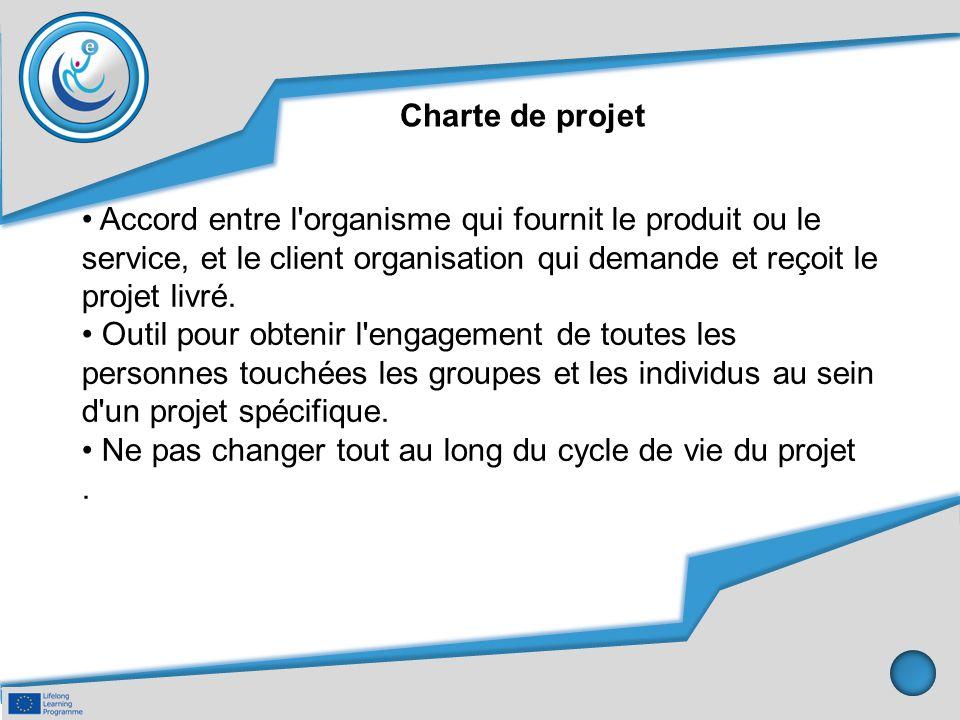 Charte de projet Accord entre l'organisme qui fournit le produit ou le service, et le client organisation qui demande et reçoit le projet livré. Outil