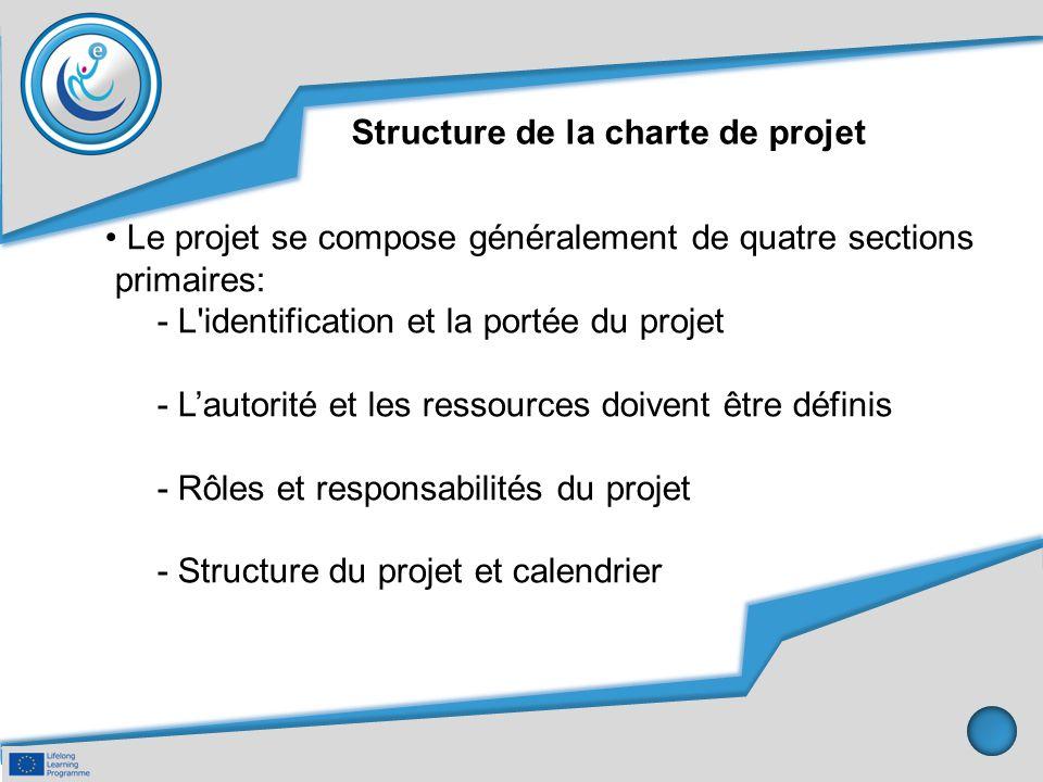 Structure de la charte de projet Le projet se compose généralement de quatre sections primaires: - L'identification et la portée du projet - L'autorit