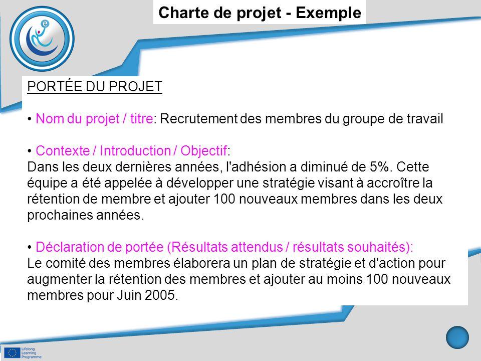 Charte de projet - Exemple PORTÉE DU PROJET Nom du projet / titre: Recrutement des membres du groupe de travail Contexte / Introduction / Objectif: Da