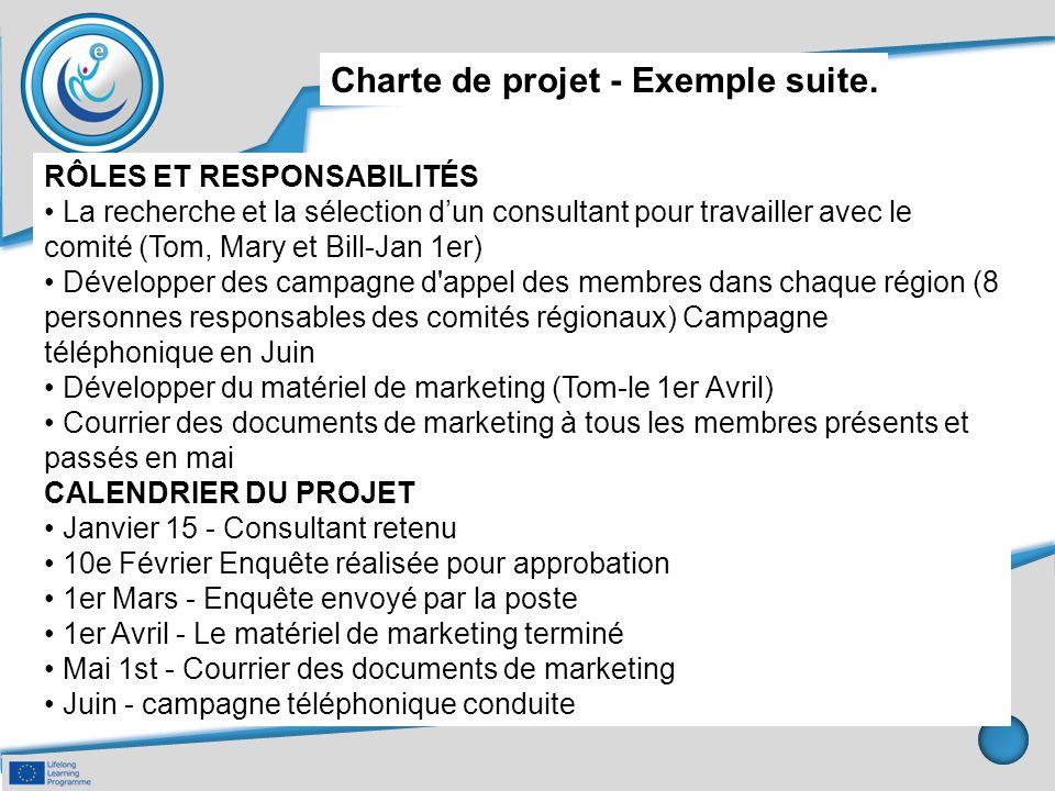 Charte de projet - Exemple suite. RÔLES ET RESPONSABILITÉS La recherche et la sélection d'un consultant pour travailler avec le comité (Tom, Mary et B
