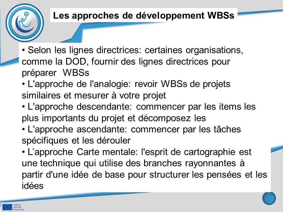 Les approches de développement WBSs Selon les lignes directrices: certaines organisations, comme la DOD, fournir des lignes directrices pour préparer