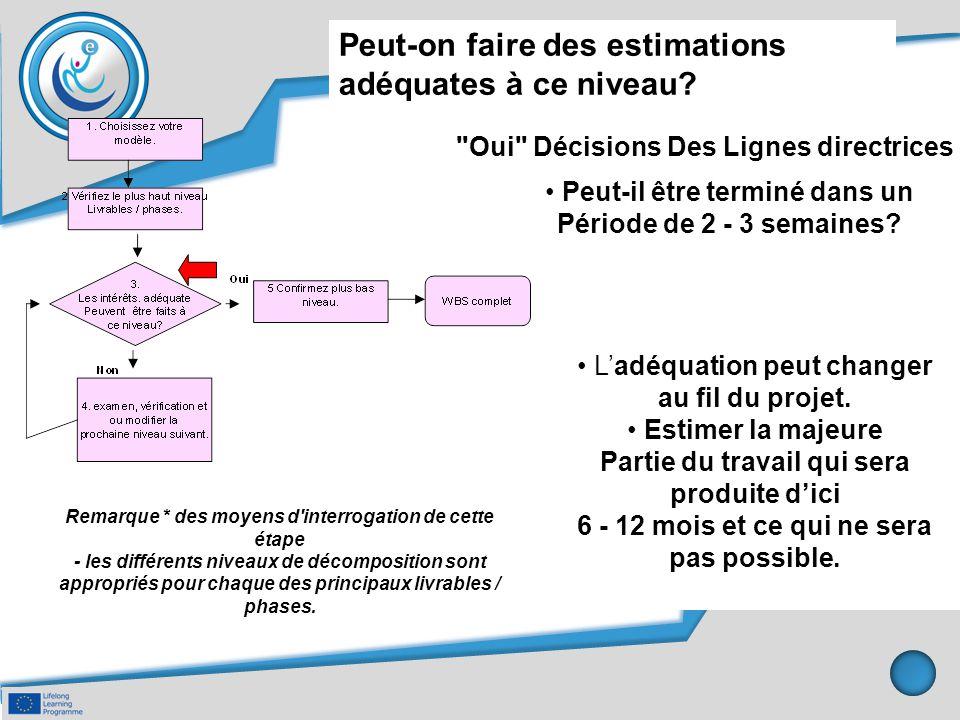 Remarque * des moyens d'interrogation de cette étape - les différents niveaux de décomposition sont appropriés pour chaque des principaux livrables /