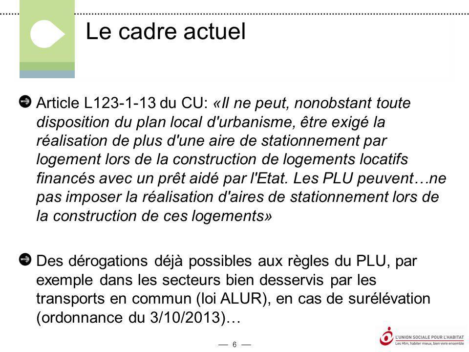 6 Article L123-1-13 du CU: «Il ne peut, nonobstant toute disposition du plan local d urbanisme, être exigé la réalisation de plus d une aire de stationnement par logement lors de la construction de logements locatifs financés avec un prêt aidé par l Etat.