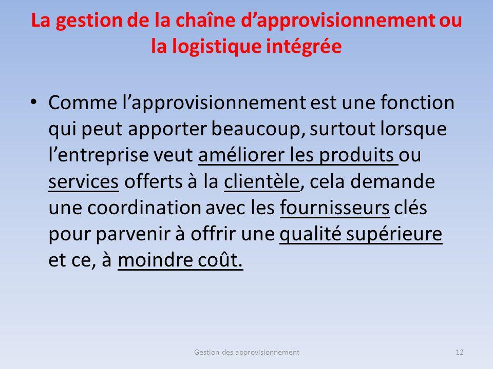 La gestion de la chaîne d'approvisionnement ou la logistique intégrée Comme l'approvisionnement est une fonction qui peut apporter beaucoup, surtout l