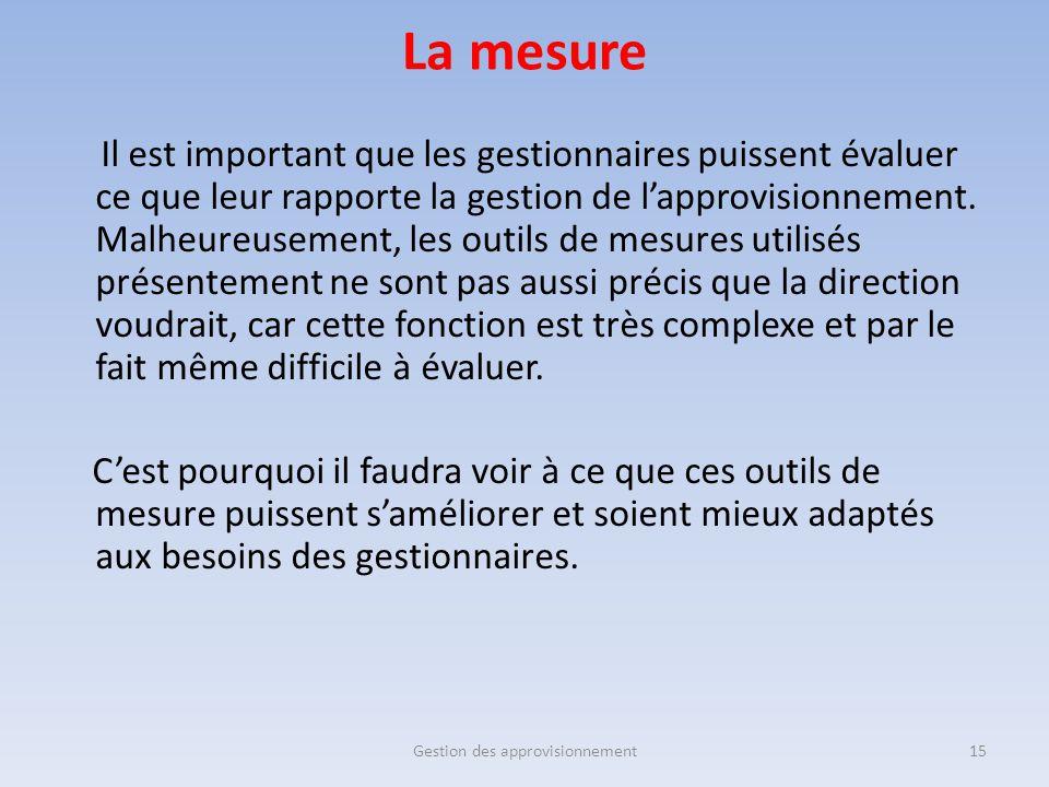 La mesure Il est important que les gestionnaires puissent évaluer ce que leur rapporte la gestion de l'approvisionnement. Malheureusement, les outils