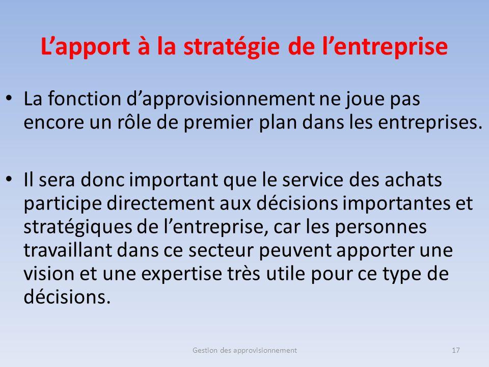 L'apport à la stratégie de l'entreprise La fonction d'approvisionnement ne joue pas encore un rôle de premier plan dans les entreprises. Il sera donc