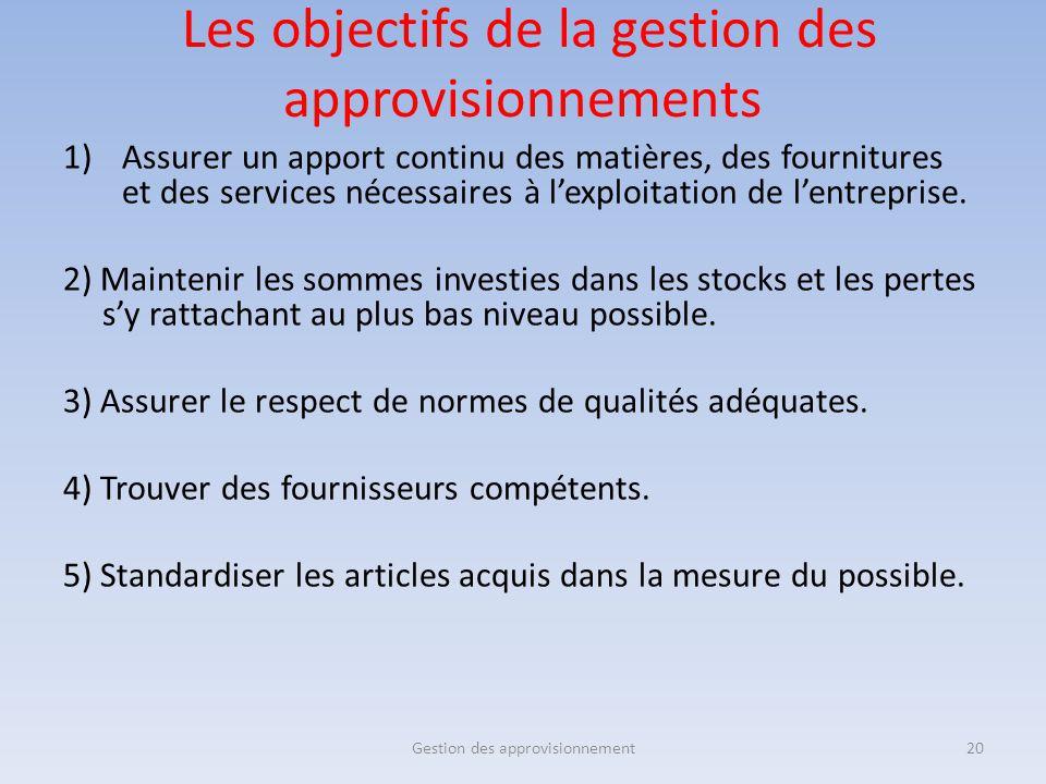 Les objectifs de la gestion des approvisionnements 1)Assurer un apport continu des matières, des fournitures et des services nécessaires à l'exploitat