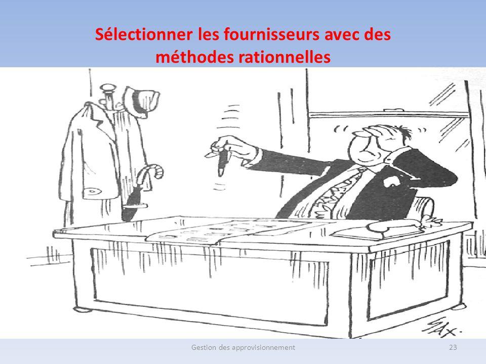 Sélectionner les fournisseurs avec des méthodes rationnelles Gestion des approvisionnement23