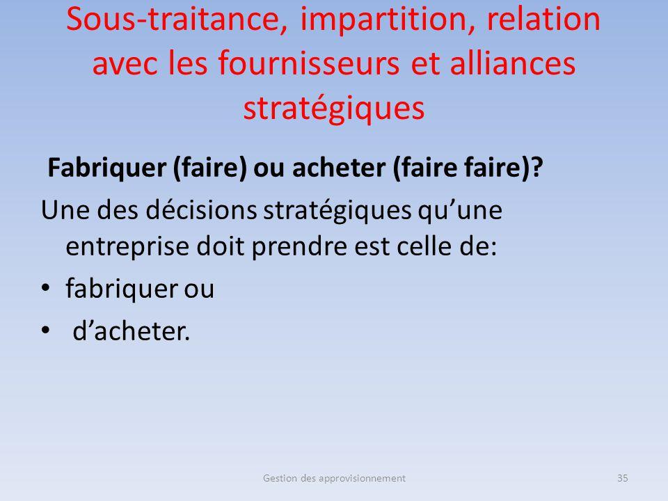 Sous-traitance, impartition, relation avec les fournisseurs et alliances stratégiques Fabriquer (faire) ou acheter (faire faire)? Une des décisions st
