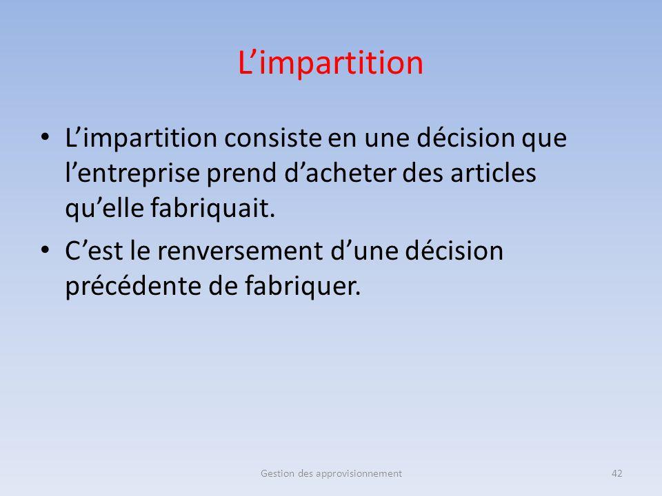 L'impartition L'impartition consiste en une décision que l'entreprise prend d'acheter des articles qu'elle fabriquait. C'est le renversement d'une déc