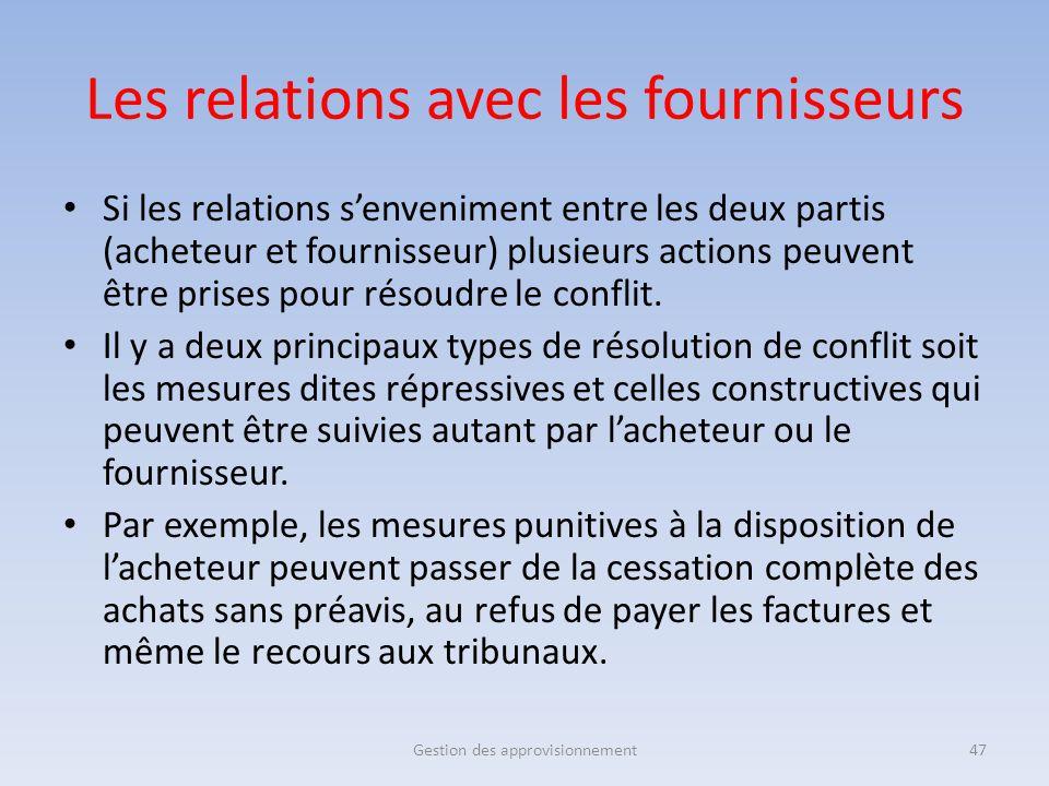 Si les relations s'enveniment entre les deux partis (acheteur et fournisseur) plusieurs actions peuvent être prises pour résoudre le conflit. Il y a d