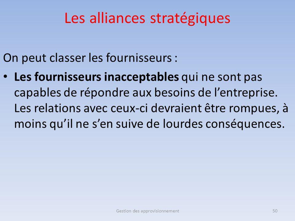 Les alliances stratégiques On peut classer les fournisseurs : Les fournisseurs inacceptables qui ne sont pas capables de répondre aux besoins de l'ent