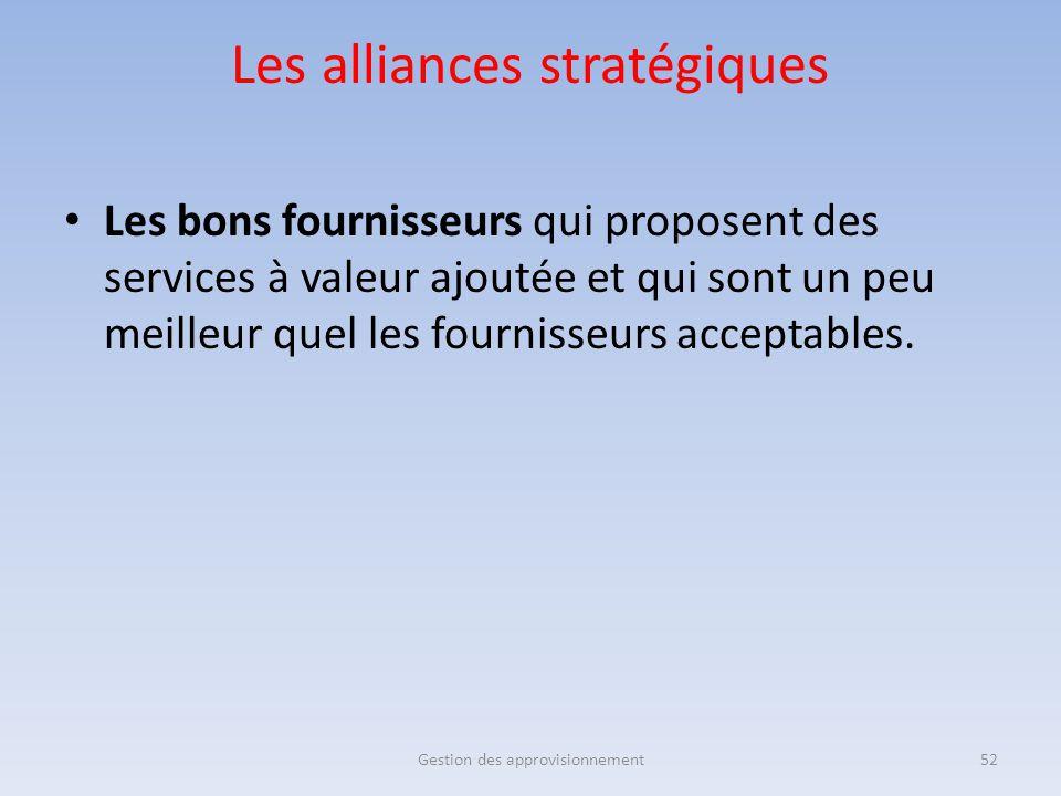 Les alliances stratégiques Les bons fournisseurs qui proposent des services à valeur ajoutée et qui sont un peu meilleur quel les fournisseurs accepta