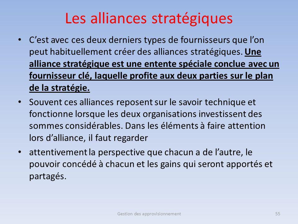 C'est avec ces deux derniers types de fournisseurs que l'on peut habituellement créer des alliances stratégiques. Une alliance stratégique est une ent