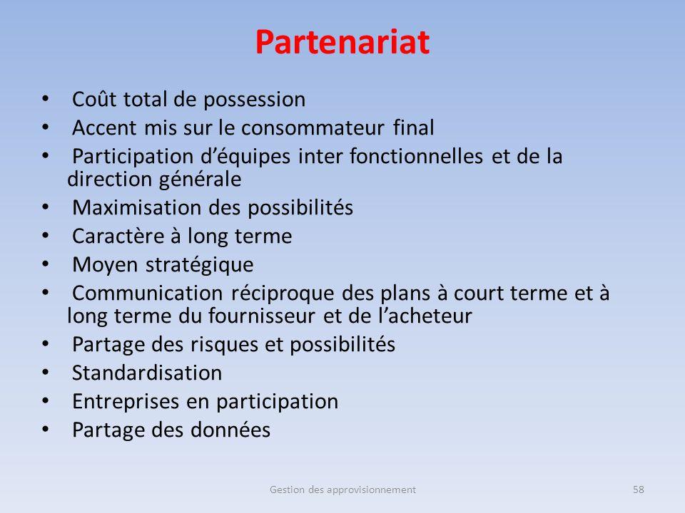 Partenariat Coût total de possession Accent mis sur le consommateur final Participation d'équipes inter fonctionnelles et de la direction générale Max