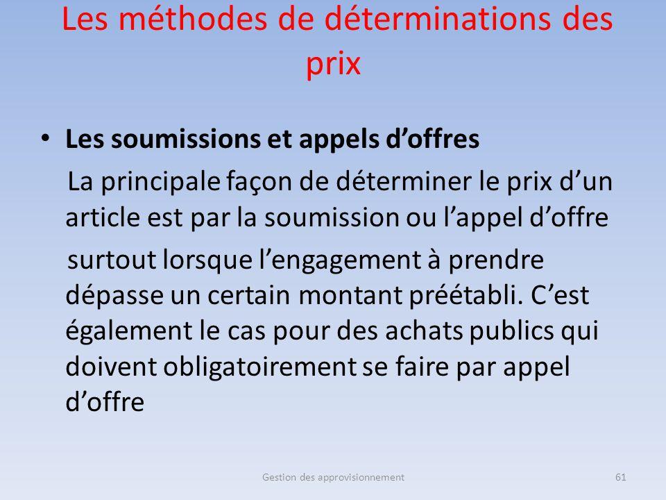 Les méthodes de déterminations des prix Les soumissions et appels d'offres La principale façon de déterminer le prix d'un article est par la soumissio
