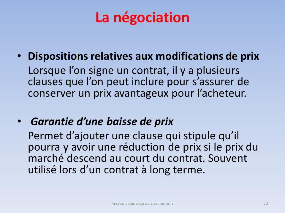 Gestion des approvisionnement63 Dispositions relatives aux modifications de prix Lorsque l'on signe un contrat, il y a plusieurs clauses que l'on peut