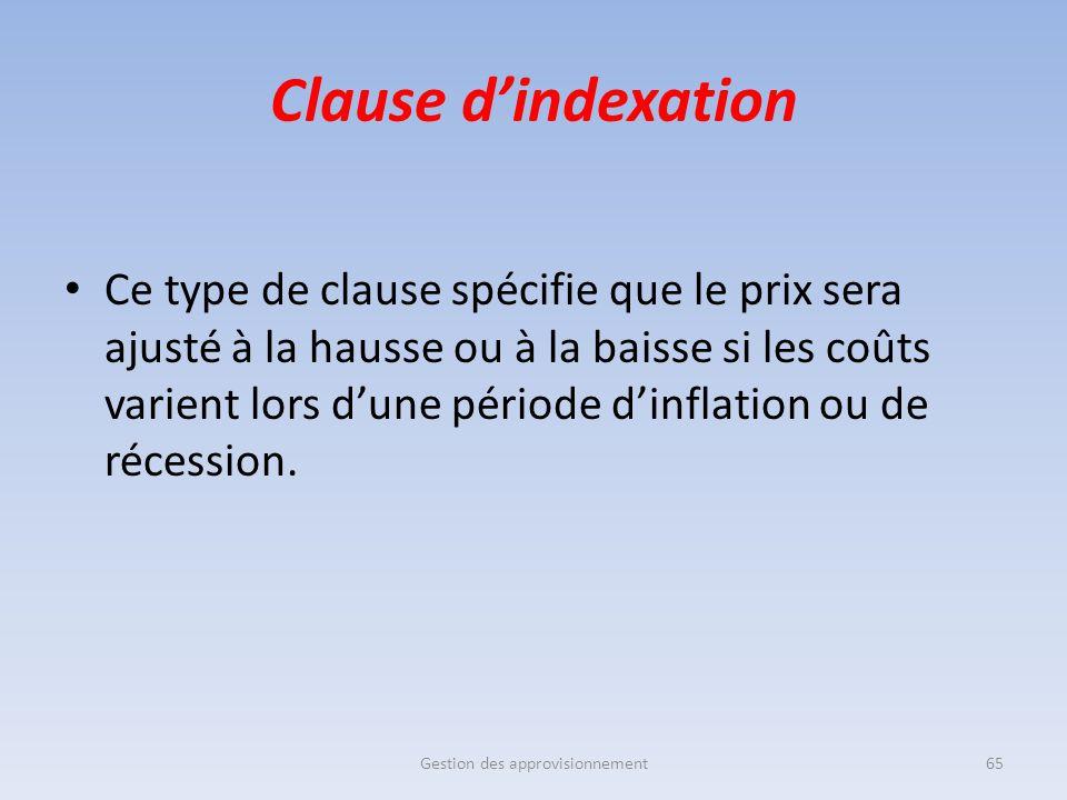 Clause d'indexation Ce type de clause spécifie que le prix sera ajusté à la hausse ou à la baisse si les coûts varient lors d'une période d'inflation