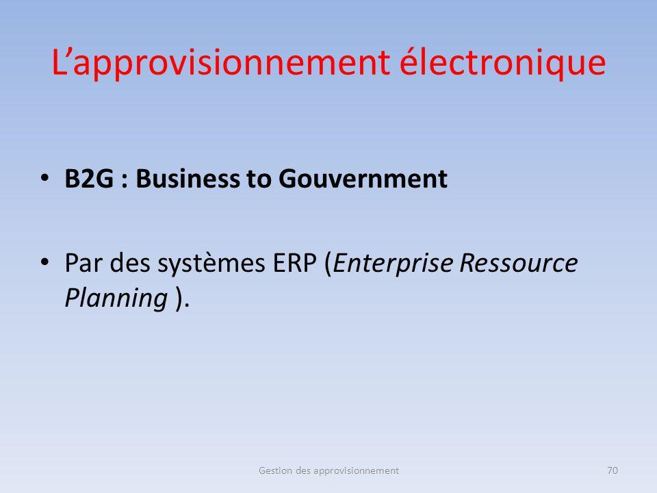 B2G : Business to Gouvernment Par des systèmes ERP (Enterprise Ressource Planning ). Gestion des approvisionnement70 L'approvisionnement électronique