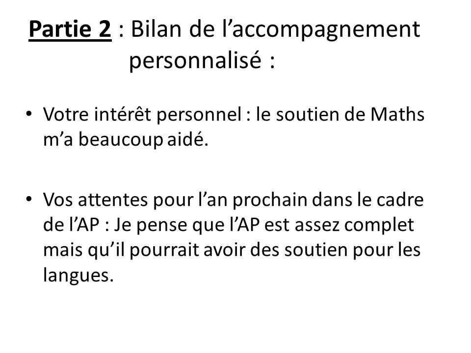 Partie 2 : Bilan de l'accompagnement personnalisé : Votre intérêt personnel : le soutien de Maths m'a beaucoup aidé. Vos attentes pour l'an prochain d