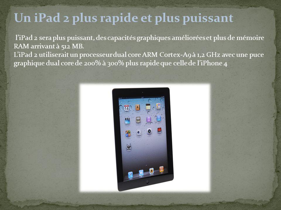 Un iPad 2 plus rapide et plus puissant l'iPad 2 sera plus puissant, des capacités graphiques améliorées et plus de mémoire RAM arrivant à 512 MB.