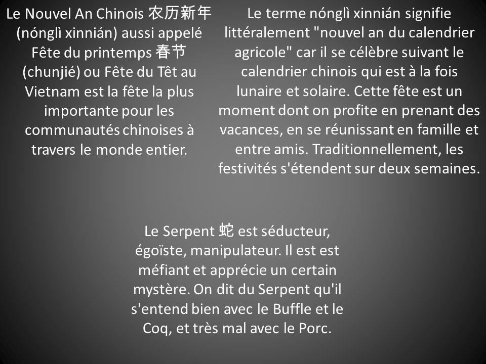Le Nouvel An Chinois 农历新年 (nónglì xinnián) aussi appelé Fête du printemps 春节 (chunjié) ou Fête du Têt au Vietnam est la fête la plus importante pour l