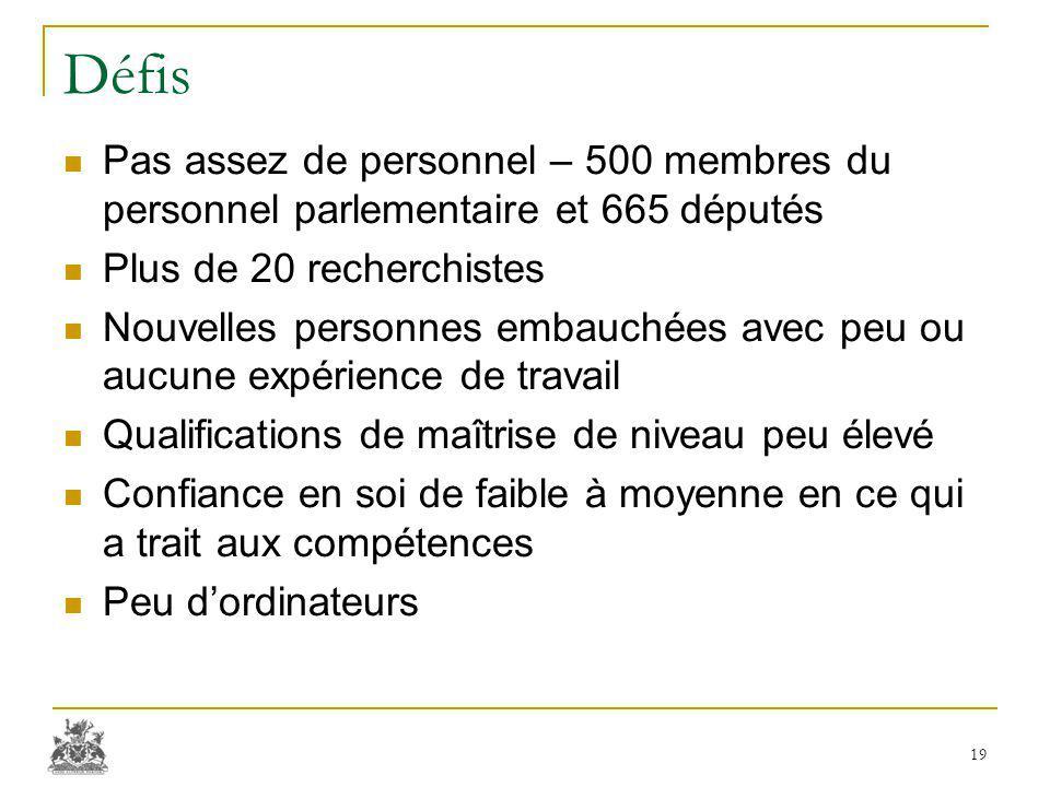 Défis Pas assez de personnel – 500 membres du personnel parlementaire et 665 députés Plus de 20 recherchistes Nouvelles personnes embauchées avec peu
