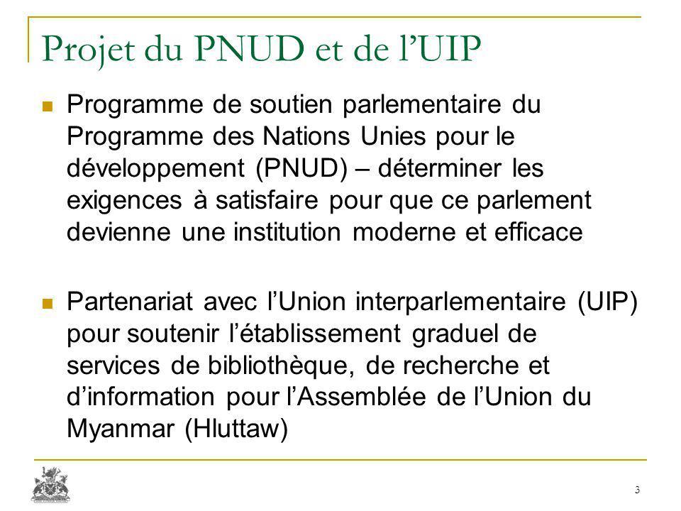 Projet du PNUD et de l'UIP Programme de soutien parlementaire du Programme des Nations Unies pour le développement (PNUD) – déterminer les exigences à satisfaire pour que ce parlement devienne une institution moderne et efficace Partenariat avec l'Union interparlementaire (UIP) pour soutenir l'établissement graduel de services de bibliothèque, de recherche et d'information pour l'Assemblée de l'Union du Myanmar (Hluttaw) 3