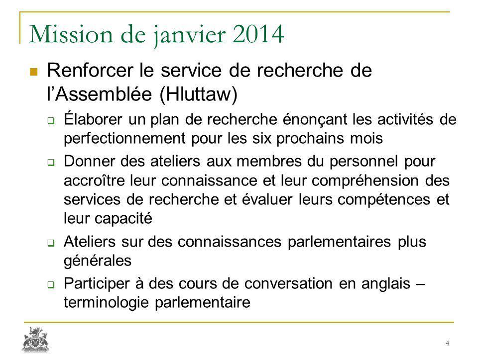 Mission de janvier 2014 Renforcer le service de recherche de l'Assemblée (Hluttaw)  Élaborer un plan de recherche énonçant les activités de perfectio