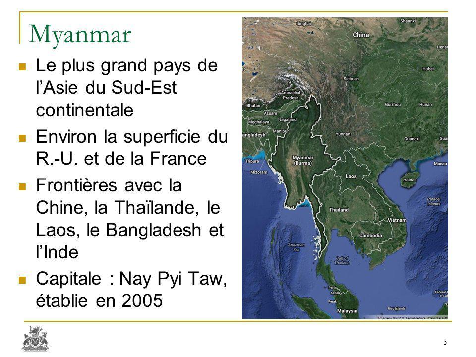 Myanmar Le plus grand pays de l'Asie du Sud-Est continentale Environ la superficie du R.-U. et de la France Frontières avec la Chine, la Thaïlande, le
