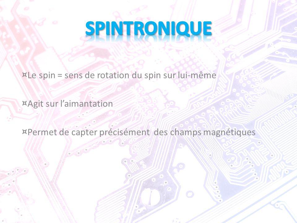 ¤ Le spin = sens de rotation du spin sur lui-même ¤ Agit sur l'aimantation ¤ Permet de capter précisément des champs magnétiques